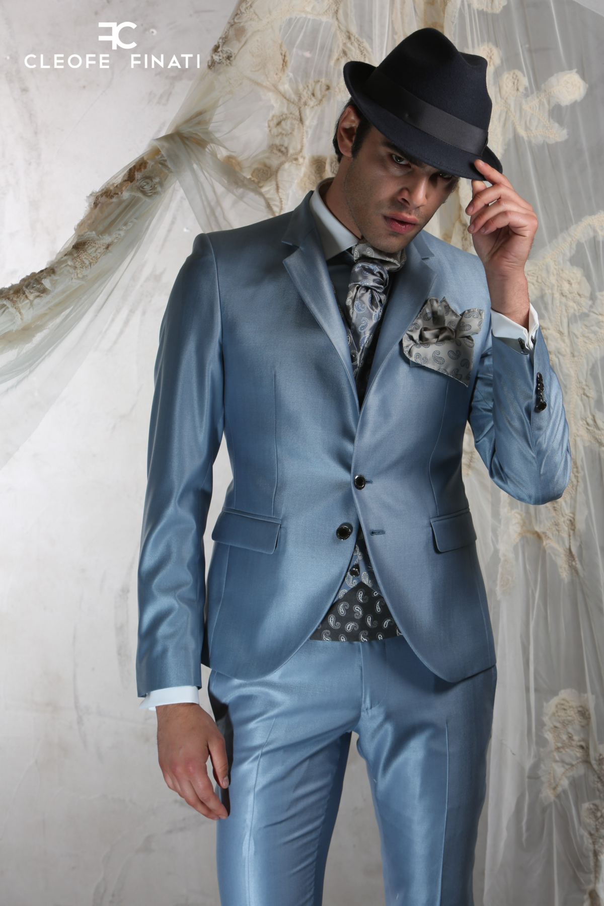 Stefano Sala wears a Cleofe Finati suit of the Couture Collection 2018