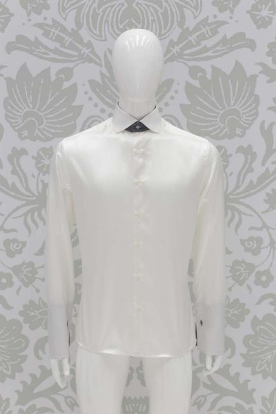 Cream shirt classic blue black wedding suit 100% made in Italy by Cleofe Finati
