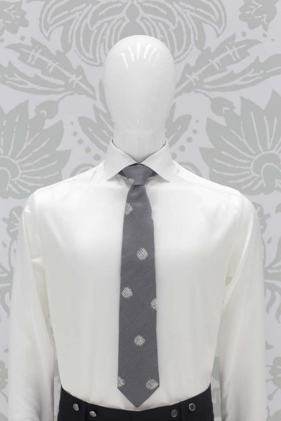 Tie grey blue classic blue black wedding suit 100% made in Italy by Cleofe Finati