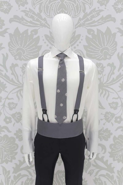 Smoke grey classic suspenders blue black wedding suit 100% made in Italy by Cleofe Finati