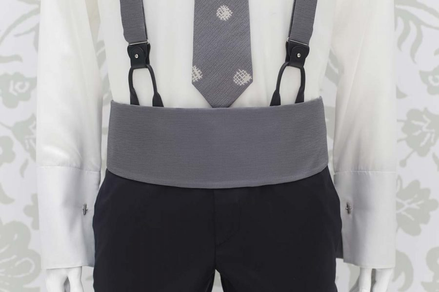 Smoke grey fabric band belt classic blue black wedding suit 100% made in Italy by Cleofe Finati