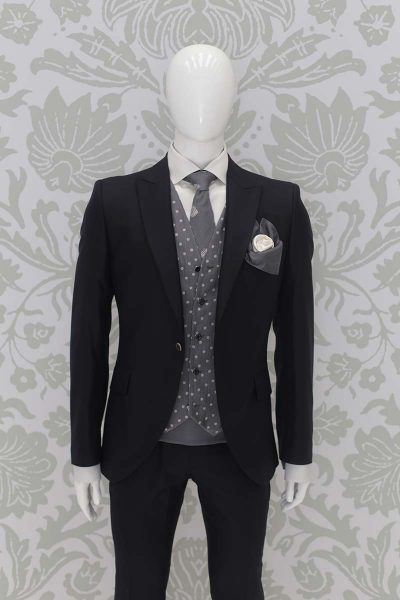 Jacket wedding suit classic blue black 100% made in Italy by Cleofe Finati