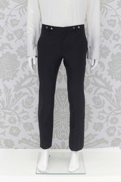 Classic black and blue wedding suit trousers 100% made in Italy by Cleofe Finati