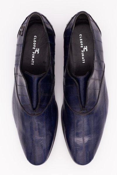 Scarpe uomo pantofole blu navy abito da sposo classico blu intenso made in Italy 100% by Cleofe Finati