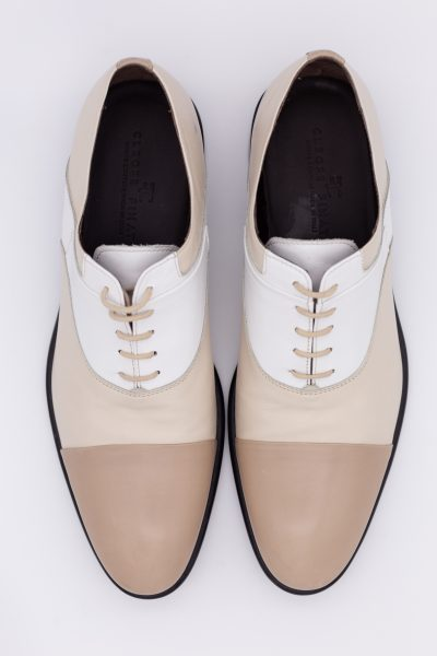 White and black lace-up shoes glamour  men's suit white light blue 100% made in Italy by Cleofe Finati