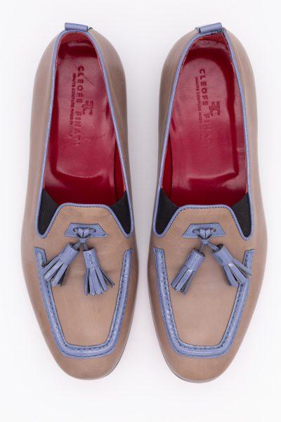 Mocassini in pelle sabbia azzurro abito da sposo fashion blu azzurro serenity made in Italy 100% by Cleofe Finati