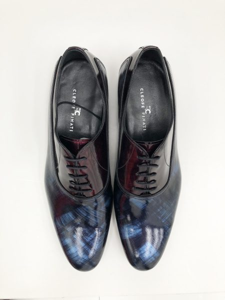 Midnight blue lace-up shoes glamour men's suit blue gold 100% made in Italy by Cleofe Finati
