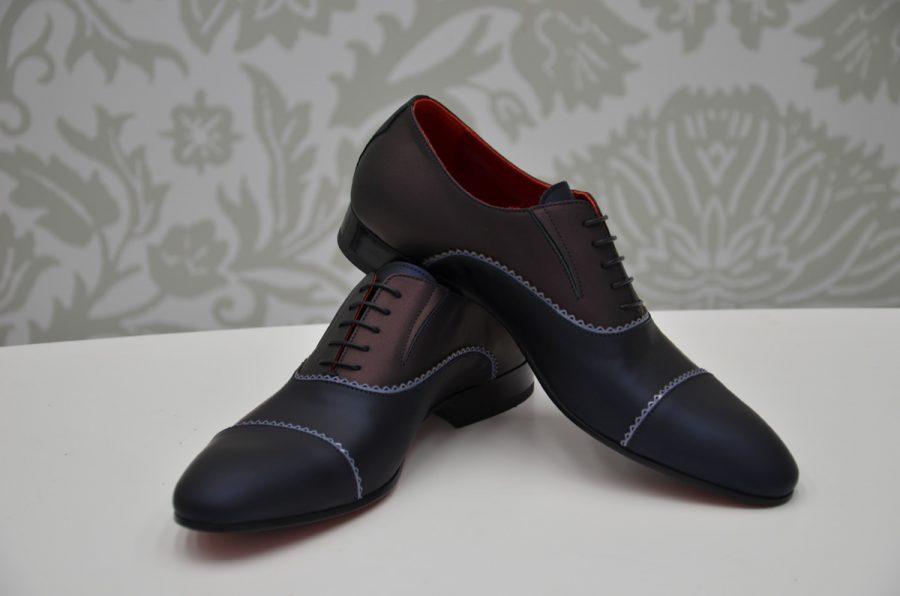 Scarpe stringate blu e bordeaux abito da uomo glamour blu bordeaux made in Italy 100% by Cleofe Finati