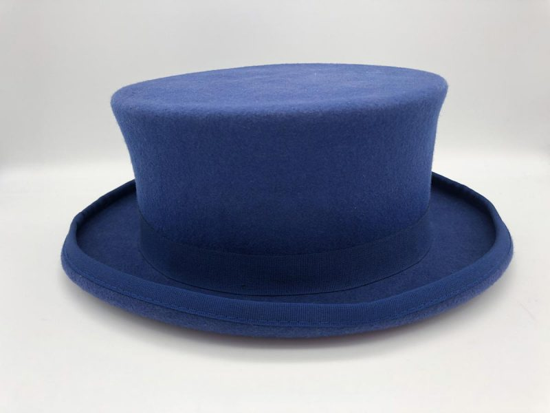 Men's demi cylinder hat  classic wedding suit serenity blue 100% made in Italy by Cleofe Finati