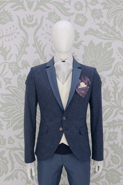 Giacca abito da sposo classico blu azzurro made in Italy 100% by Cleofe Finati