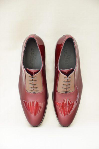 Scarpe stringate rosso e oro metallo abito da uomo glamour rosso made in Italy 100% by Cleofe Finati