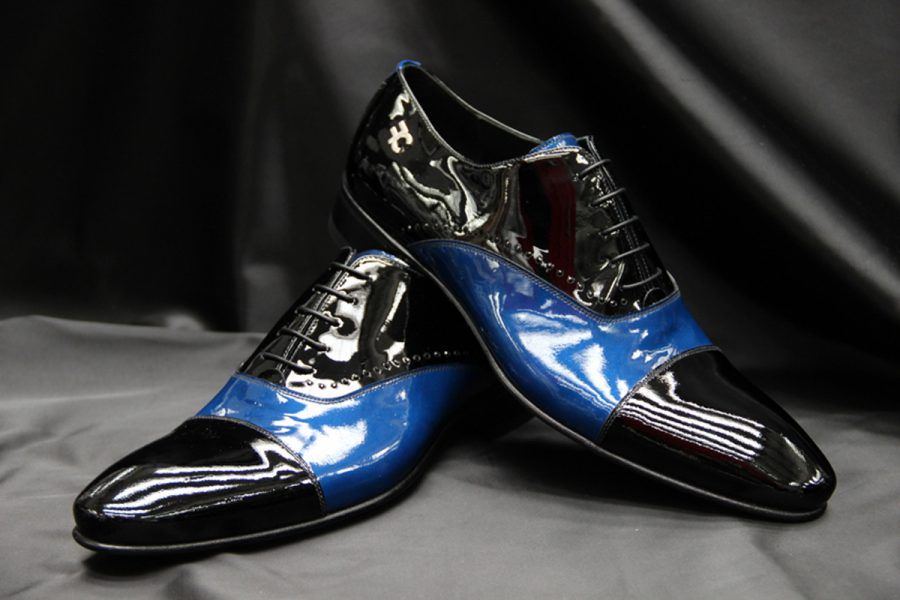 Blue leather loafers glamour men's suit blue 100% made in Italy by Cleofe Finati