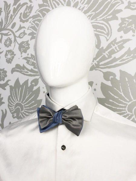 Papillon dandy azzurro grey abito da uomo glamour azzurro blu made in Italy 100% by Cleofe Finati