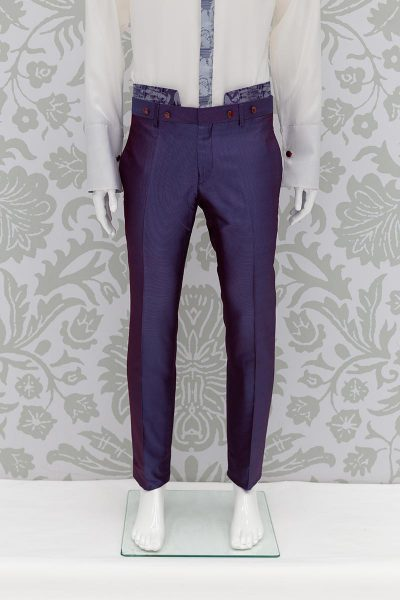 Glamorous men's luxury trousers 100% blue purple made in Italy by Cleofe Finati