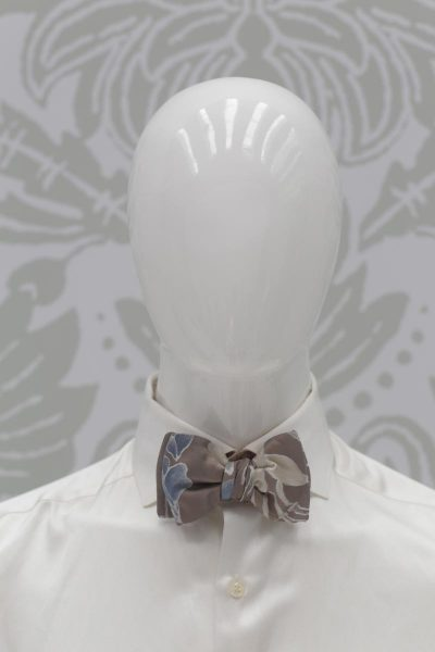 Double dandy sand light blue bow tie fashion blue serenity wedding suit 100% made in Italy by Cleofe Finati