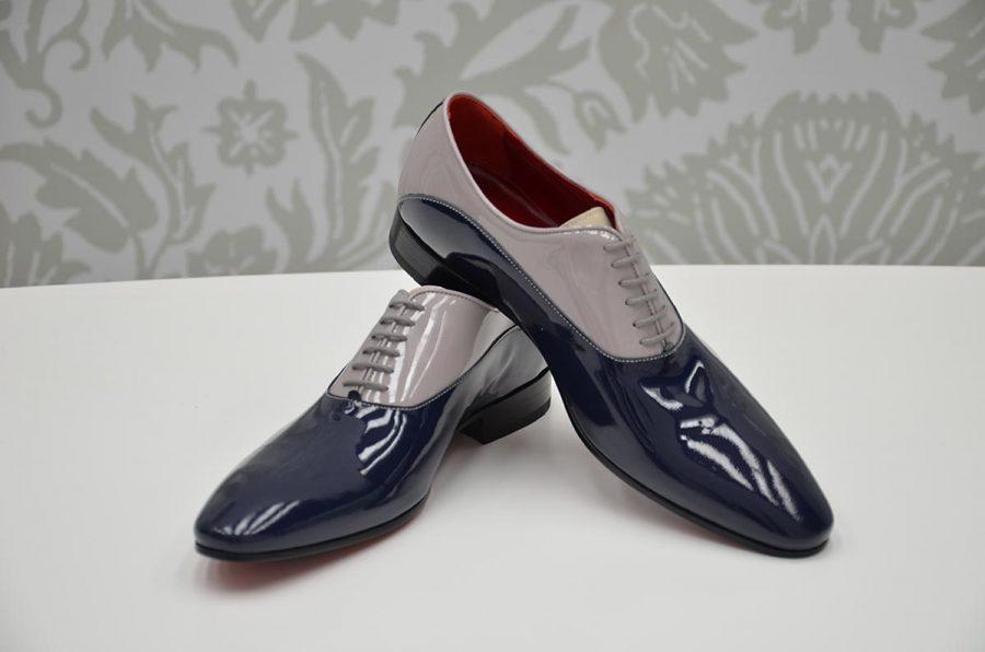 Scarpe stringate blu notte e grigio abito da uomo glamour blu notte made in Italy 100% by Cleofe Finati
