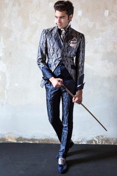 Abito da uomo glamour lusso blu notte ecru made in Italy 100% by Cleofe Finati