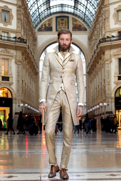 Glamour luxury men's suit gold honey walnut 100% made in Italy by Cleofe Finati