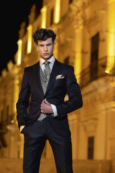 Wedding suit classic blue black 100% made in Italy by Cleofe Finati