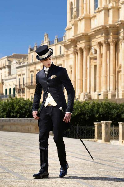 Wedding suit tailcoat line black 100% made in Italy by Cleofe Finati
