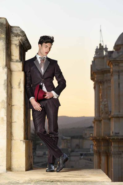 Abito da sposo fashion bordeaux made in Italy 100% by Cleofe Finati