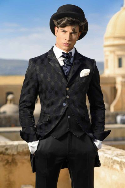 Classic wedding suit tail coat line in black brocade 100% made in Italy by Cleofe Finati