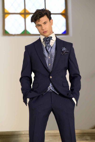 Abito da sposo classico blu notte made in Italy 100% by Cleofe Finati
