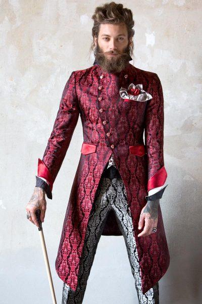 Abito da uomo glamour lusso nero rosso rubino ecru made in Italy 100% by Cleofe Finati
