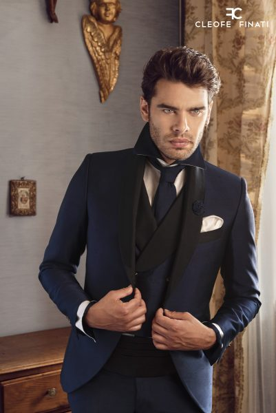 Tuxedo jacket glamour men's suit black and blue 100% made in Italy by Cleofe Finati