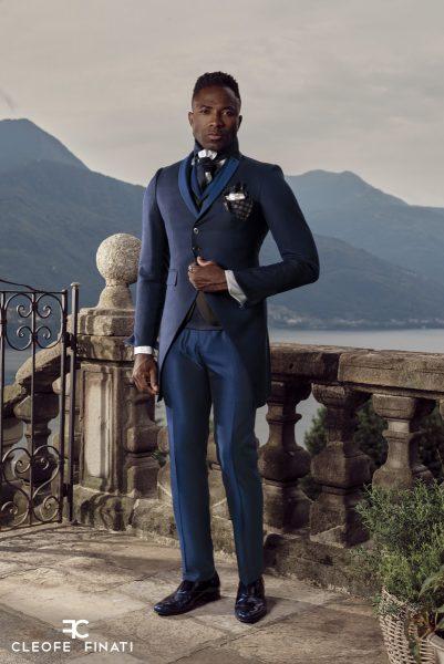 Abito da sposo classico azzurro serenity polveroso made in Italy 100% by Cleofe Finati