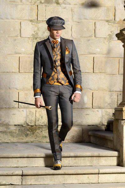 Bastone gioiello dandy abito da uomo glamour grigio antracite e ocra made in Italy 100% by Cleofe Finati