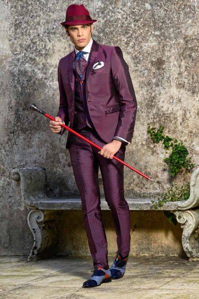 Abito da uomo glamour lusso rosso bordeaux bordò made in Italy 100% by Cleofe Finati