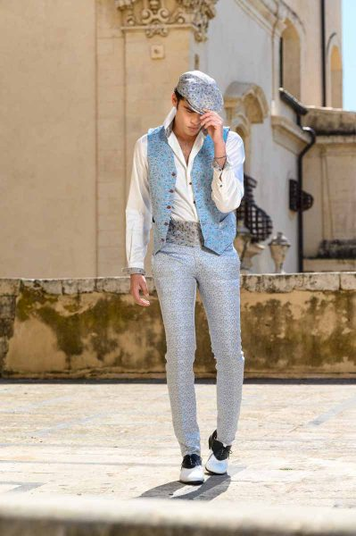 Glamorous luxury men's suit white light blue 100% made in Italy by Cleofe Finati
