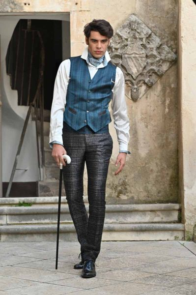 Abito da uomo lusso glamour blu nero made in Italy 100% by Cleofe Finati