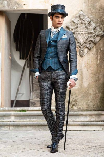 Luxury men's suit glamour black blue 100% made in Italy by Cleofe Finati