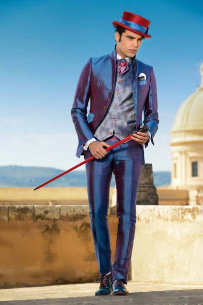 Luxury glamour men's suit blue burgundy 100% made in Italy by Cleofe Finati