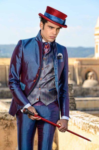 Abito da uomo lusso glamour blu bordeaux made in Italy 100% by Cleofe Finati
