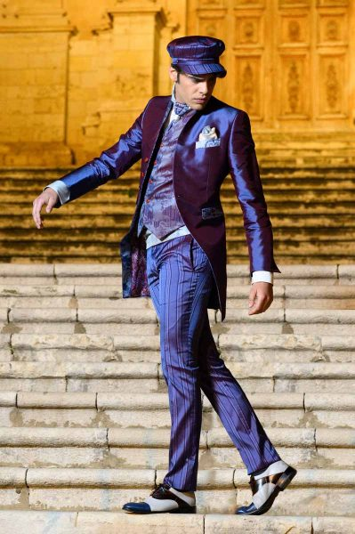 Luxury glamour men's suit blue purple 100% made in Italy by Cleofe Finati