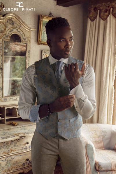 Abito da uomo glamour lusso azzurro beige sabbia made in Italy 100% by Cleofe Finati