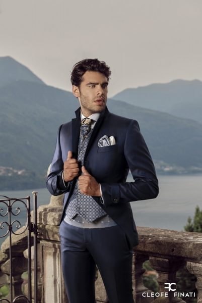 Classic navy blue wedding suit 100% made in Italy by Cleofe Finati