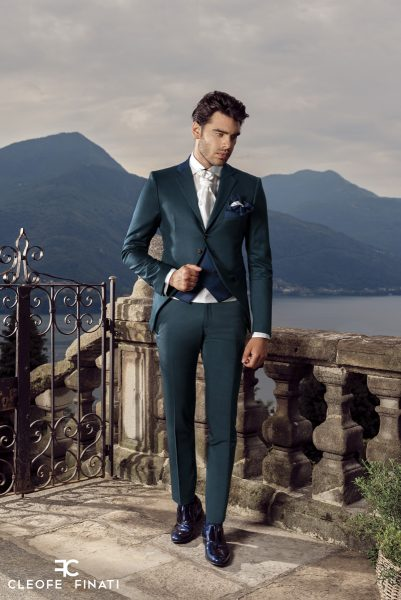 Sky blue fashion wedding suit 100% made in Italy by Cleofe Finati