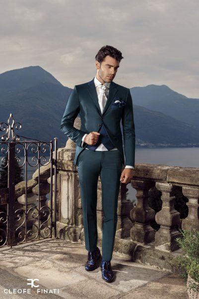 Abito da sposo fashion verde blu made in Italy 100% by Cleofe Finati