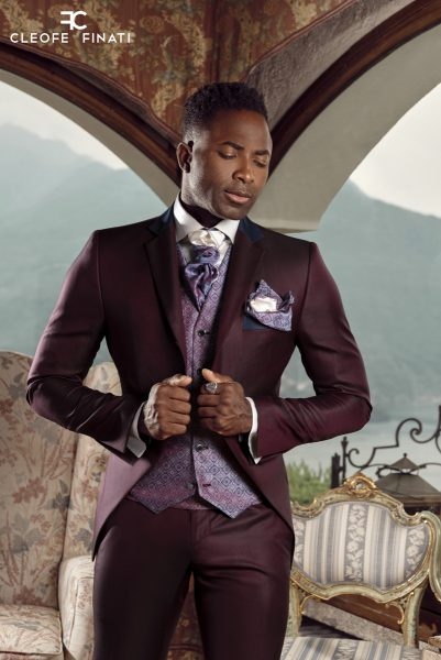 Abito da uomo fashion bordeaux made in Italy 100% by Cleofe Finati