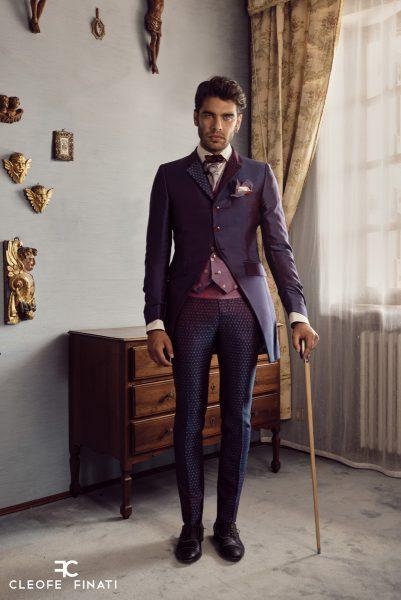 Abito da uomo glamour lusso blu bordeaux made in Italy 100% by Cleofe Finati