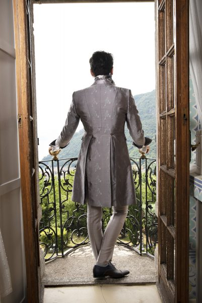 Glamorous luxury men's suit sage pink 100% made in Italy by Cleofe Finati