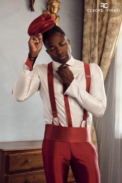 Abito da uomo glamour lusso rosso made in Italy 100% by Cleofe Finati