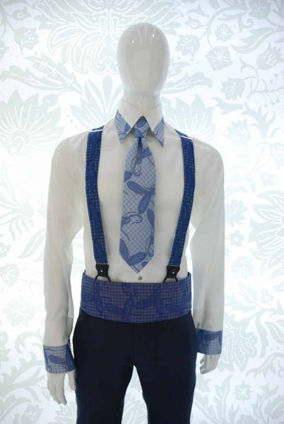 Blue ivory seven-fold tie glamour men's suit light blue midnight blue 100% made in Italy by Cleofe Finati