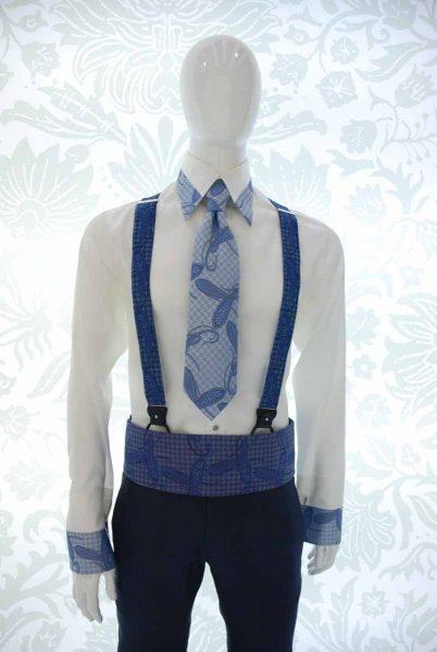 Cravatta a sette pieghe blu ivory abito da uomo glamour azzurro blu notte made in Italy 100% by Cleofe Finati