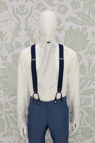 Bretelle blu abito da sposo classico blu azzurro made in Italy 100% by Cleofe Finati