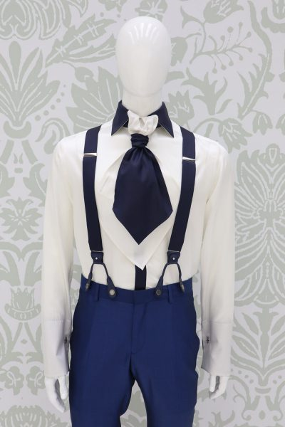 Cerulean blue suspenders classic wedding suit dusty serenity blue 100% made in Italy by Cleofe Finati